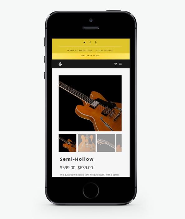 Мобилна версия на Уеб сайт дизайн за китари