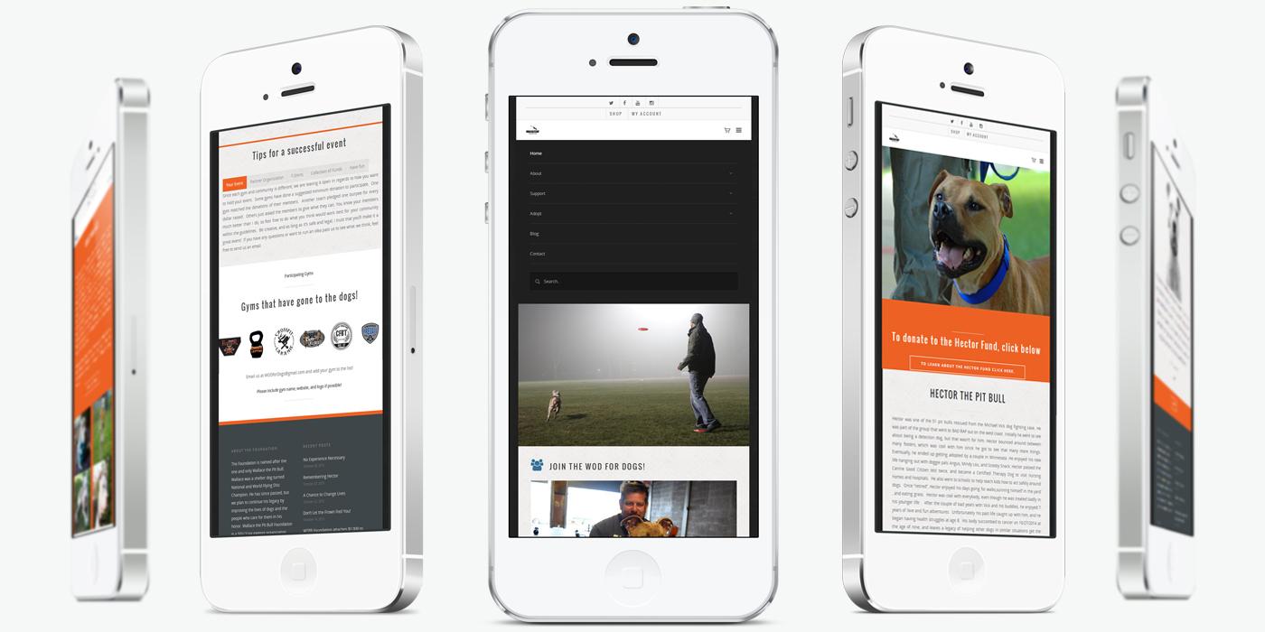 Мобилна версия на Уеб сайт дизайн за фондация за кучета