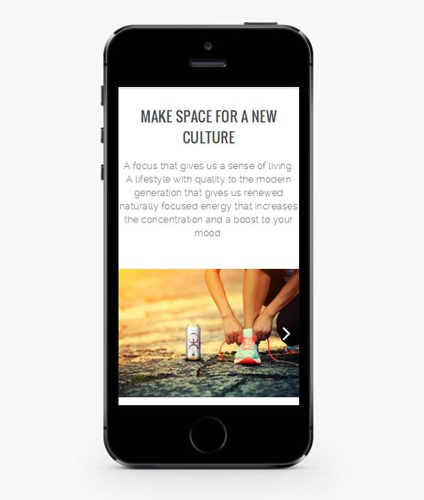 Мобилна версия на Уеб сайт дизайн за енергийна напитка