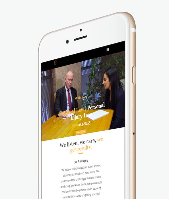 Мобилна версия на уеб сайт дизайн за адвокати изглед 3