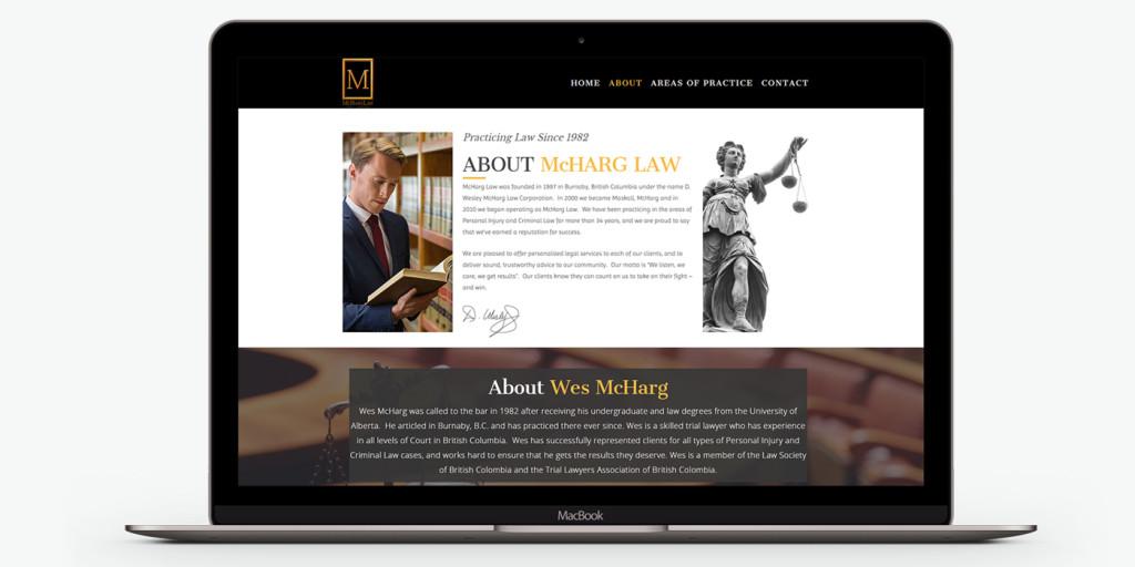 Десктоп версия на уеб сайт дизайн за адвокати McHarg Law