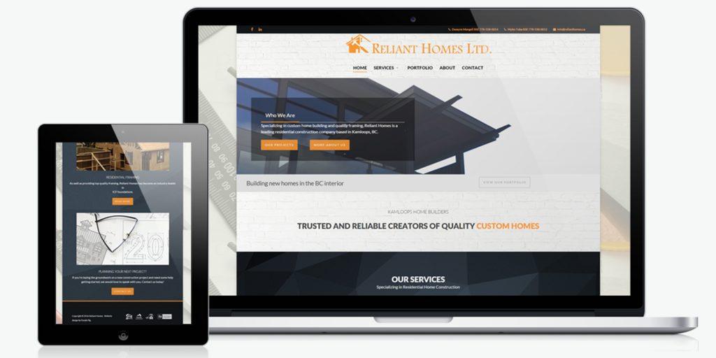 Уеб сайт дизайн за строители Reliant Homes ltd