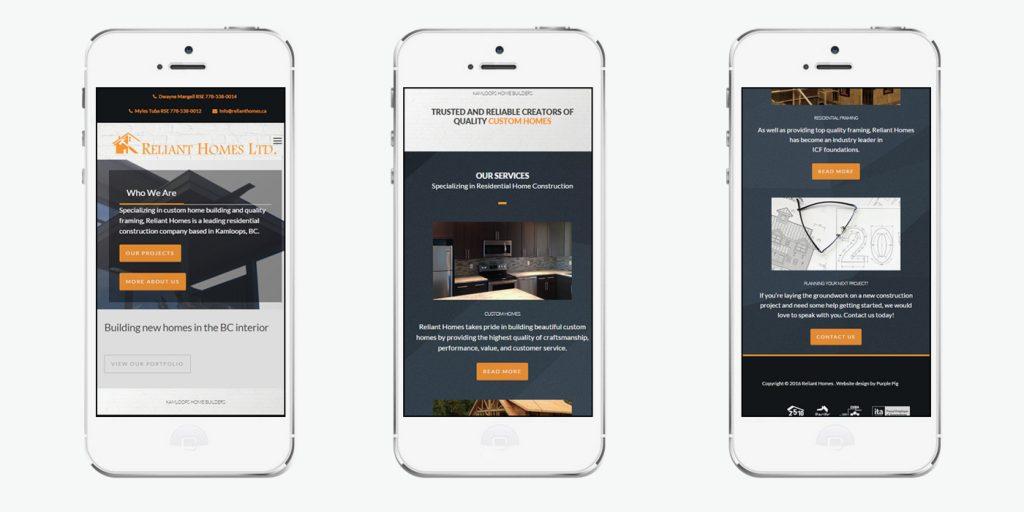 Мобилна версия на уеб сайт дизайн за строители